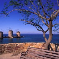 A6HW2G Vrontados view of windmills Chios N E Aegean Greece Clairy Moustafellou IML Image Group